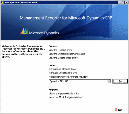 Management Reporter Setup for Microsoft Dynamics ERP SP2 Setup