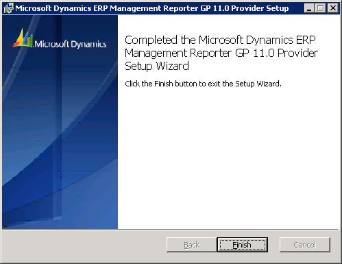 Microsoft Dynamics ERP Management Reporter GP 11.0 Provider Setup Complete
