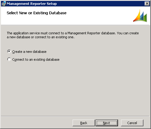 Management Reporter Setup - Select New or Existing Database
