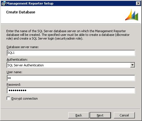 Management Reporter Setup - Create Database