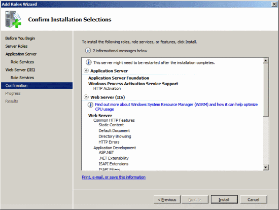 Add Roles Wizard - Confirm Installation Selections