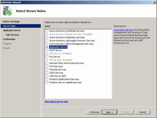 Add Roles Wizard - Select Server Roles