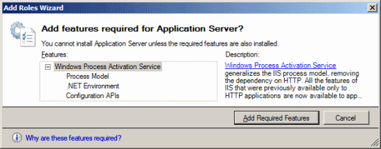 Add Roles Wizard - Add features required for Application Server?