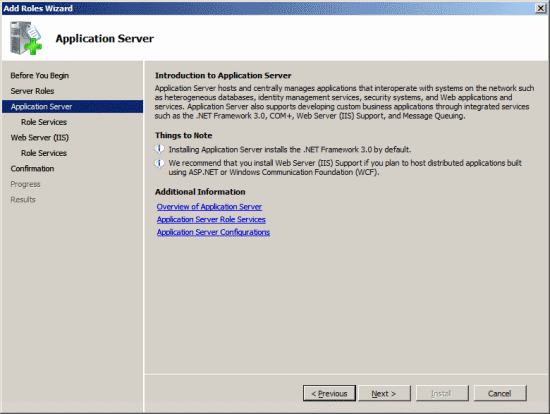 Add Roles Wizard - Application Server