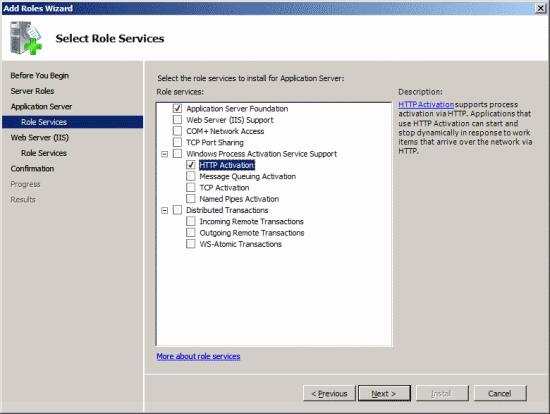 Add Roles Wizard - Application Server - Role Services