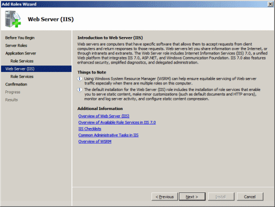 Add Roles Wizard - Web Server (IIS)
