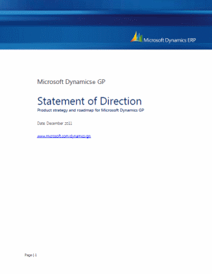 Microsoft Dynamics GP Statement of Direction
