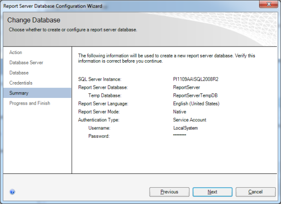 Reporting Services Configuration Manager - Report Server Database Configuration Wizard - Summary
