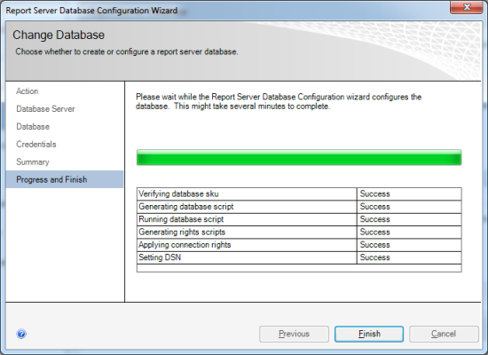 Reporting Services Configuration Manager - Report Server Database Configuration Wizard - Progress and Finish