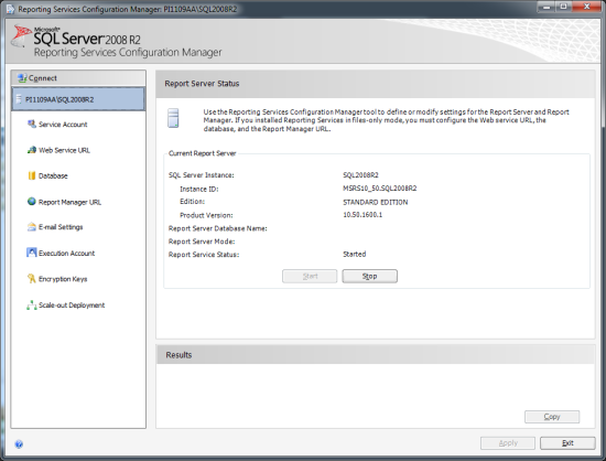 Reporting Services Configuration Manager - Report Server Status