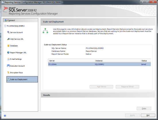 Reporting Services Configuration Manager -