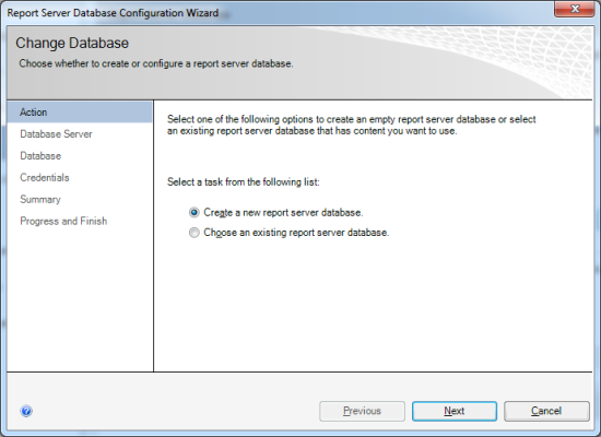 Reporting Services Configuration Manager - Report Server Database Configuration Wizard - Action
