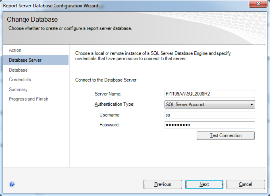 Reporting Services Configuration Manager - Report Server Database Configuration Wizard - Database Server