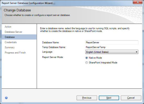 Reporting Services Configuration Manager - Report Server Database Configuration Wizard - Database