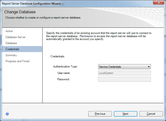 Reporting Services Configuration Manager - Report Server Database Configuration Wizard - Credentials