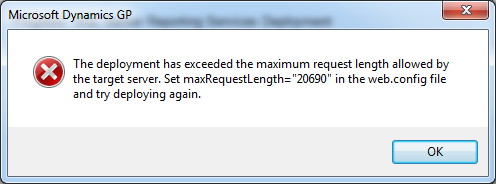 "The deployment has exceeded the maximum request length allowed by the target server. Set maxRequestLength = ""20690"" in the web.config file and try deploying again."