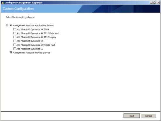 Configure Management Reporter - Custom Configuration
