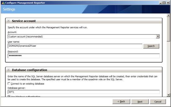 Configure Management Reporter - Settings