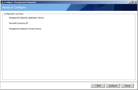 Configure Management Reporter - Ready to Configure