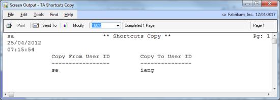 Screen Output - TA Shortcuts Copy