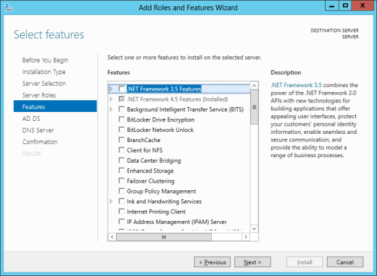 Add Roles And Features Wizard - Select features