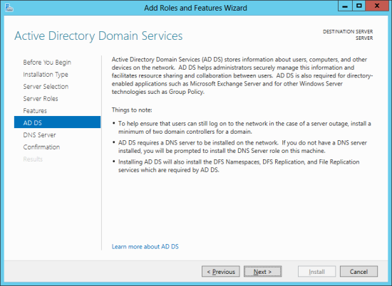 Add Roles And Features Wizard - Active Directory Domain Services