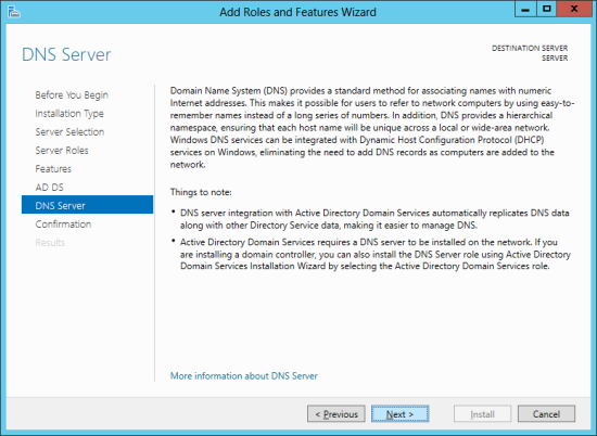 Add Roles And Features Wizard - DNS Server