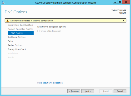 Active Directory Domain Services Configuration Wizard - DNS Options