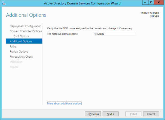 Active Directory Domain Services Configuration Wizard - Additional Options