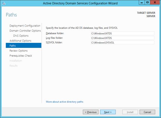 Active Directory Domain Services Configuration Wizard - Paths