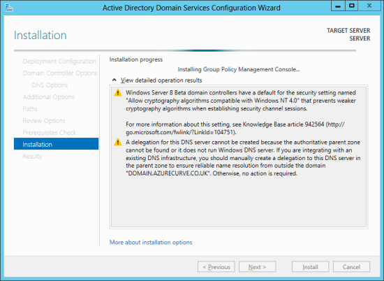 Active Directory Domain Services Configuration Wizard -