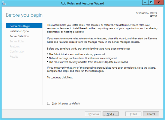 Add Roles And Features Wizard - before you begin