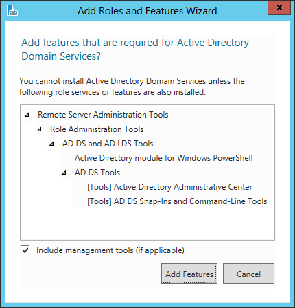 Add Roles And Features Wizard - Add features that are required for Active Directory Domain Services?