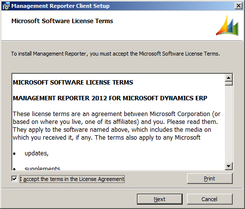 Management Reporter Client Setup - License Terms