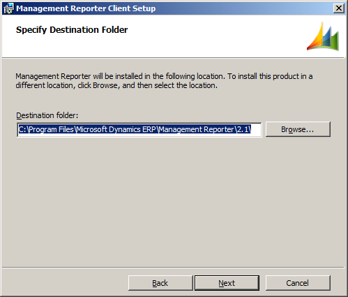 Management Reporter Client Setup - Specify Destination Folder