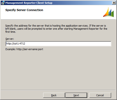 Management Reporter Client Setup - Specify Server Connection