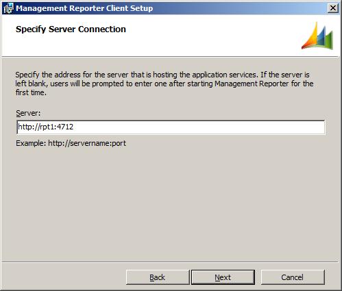 Management Reporter Client Setup - Specify Server Connection