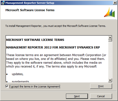 Management Reporter Setup - Microsoft Software License Terms