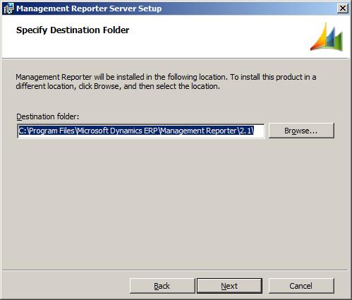 Management Reporter Setup - Specify Destination Folder