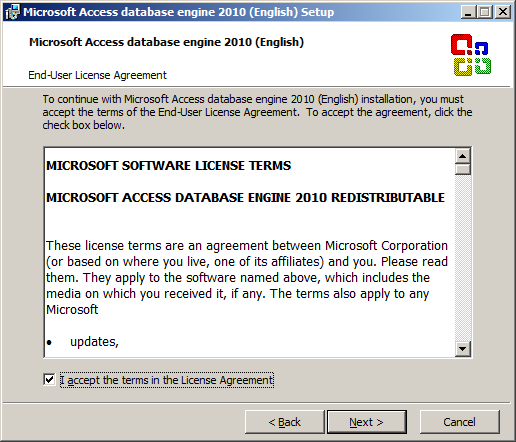 Microsoft Access database engine 2010 (English) Setup - End-User License Agreement