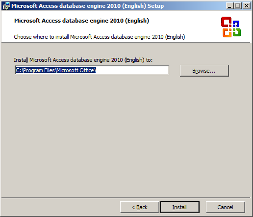 Microsoft Access database engine 2010 (English) Setup - Install Location