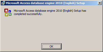 Microsoft Access database engine 2010 (English) Setup - Setup Completed Successfully