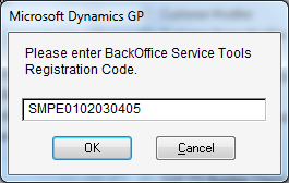 Microsoft Dynamics GP - Please enter BackOffice Service Tools Registration Code