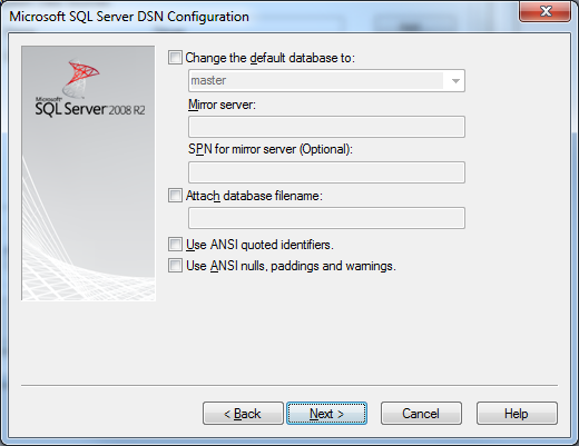 Microsoft SQL Server DSN Configuration