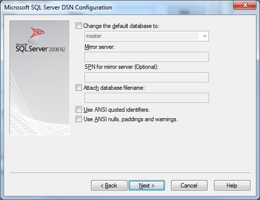 Microsoft SQL Server DSN Configuration