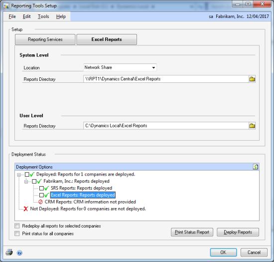 Reporting Tools Setup - Excel tab