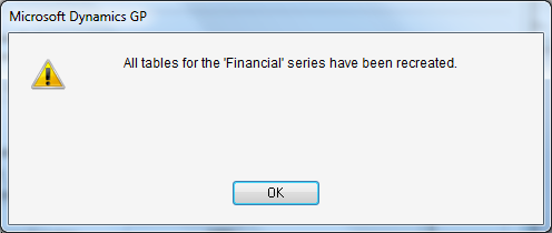 Microsoft Dynamics GP - All tables for the 'Financial' series have been recreated.