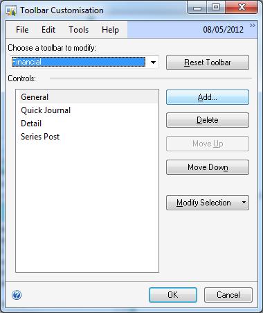Toolbar Customisation