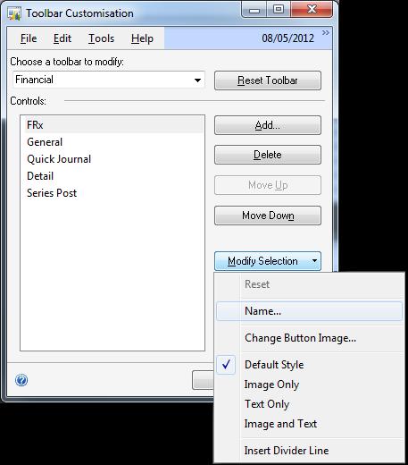 Toolbar Customisation - Modify Selection