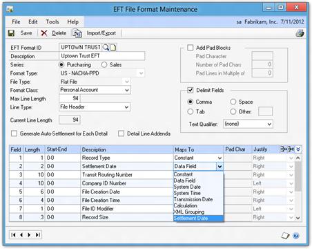 EFT File Format Maintenance